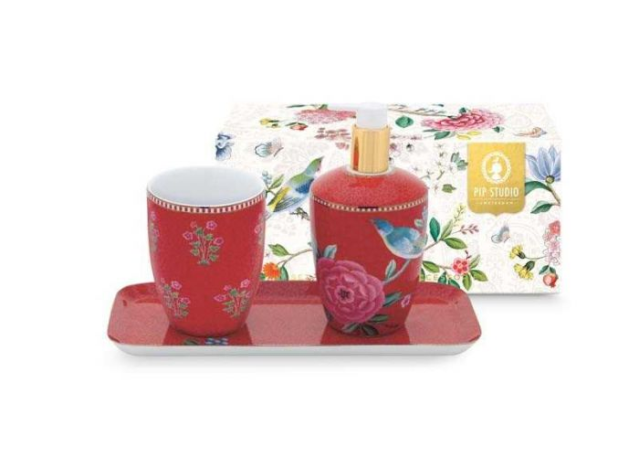 Set von Badezimmeraccessoires Floral Good Morning Rot