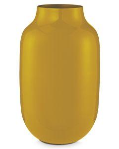 Ovale Vase Metall 30 cm gelb