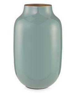 Ovale Vase Metall 30 cm blau