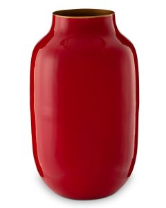 Ovale Metall Vase Rot 30 cm