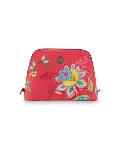 Cosmetic Bag Triangle Large Jambo Flower Red