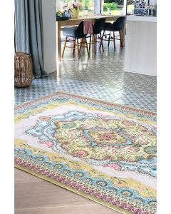 vintage-rectangular-majorelle-by-pip-carpets-in-yellow-with-flower-details