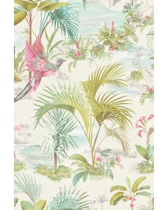 Palm Scene Tapete Weiss