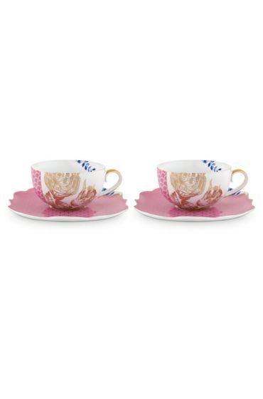 Royal Set/2 Tea Cups & Saucers Pink