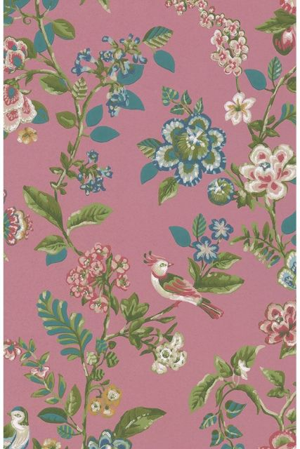 wallpaper-non-woven-vinyl-flowers-bird-dark-pink-pip-studio-botanical-print
