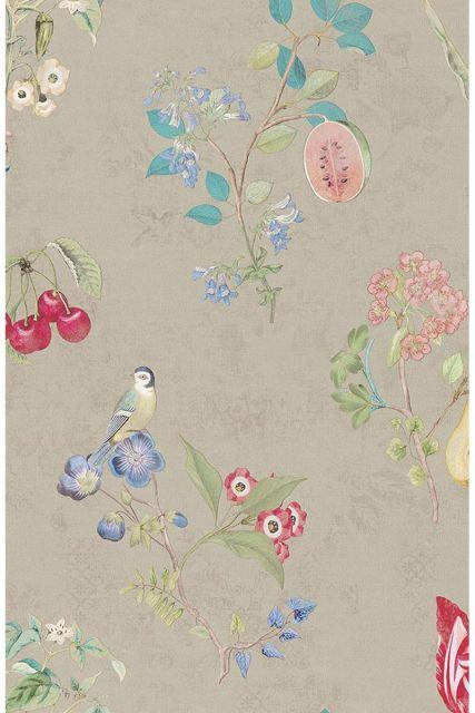 behang-vliesbehang-bloemen-vogel-khaki-pip-studio-cherry-pip