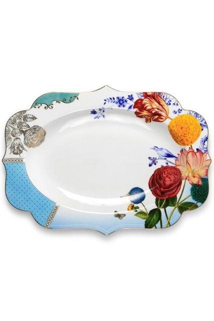 Royal ovale serveerschaal 40 cm meerkleurig