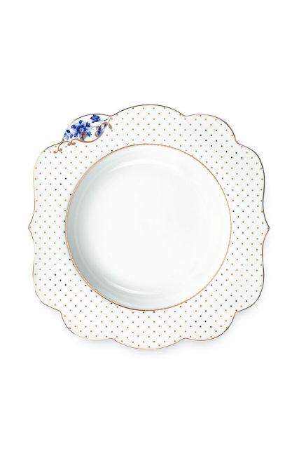 Royal White Soup plate 23,5 cm Golden Dots