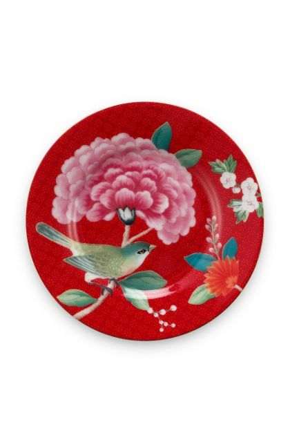 Blushing Birds Petit Four Plate Red 12 cm