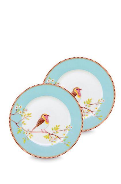 Early Bird Set of 2 Breakfast Plates Blue 21 cm