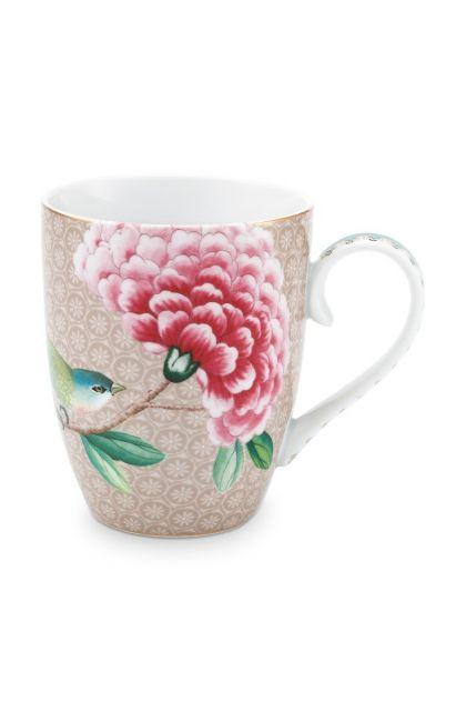 mug-large-khaki-flower-birds-print-blushing-birds-pip-studio-350-ml