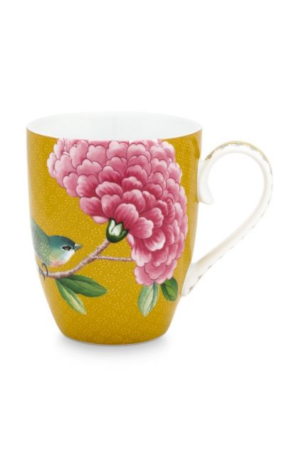 Blushing Birds Mug Large Yellow