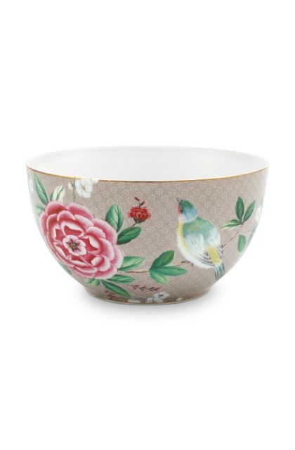Blushing Birds Bowl Khaki 15 cm
