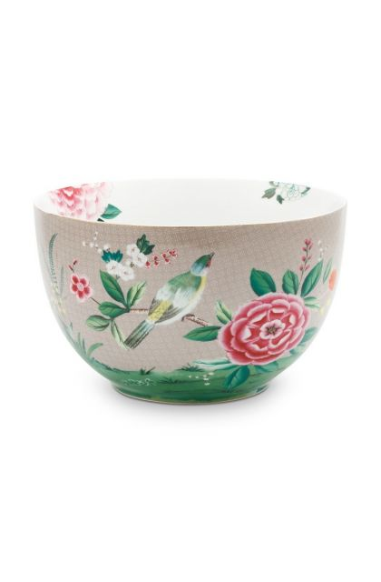 Blushing Birds Bowl Large Khaki 23 cm