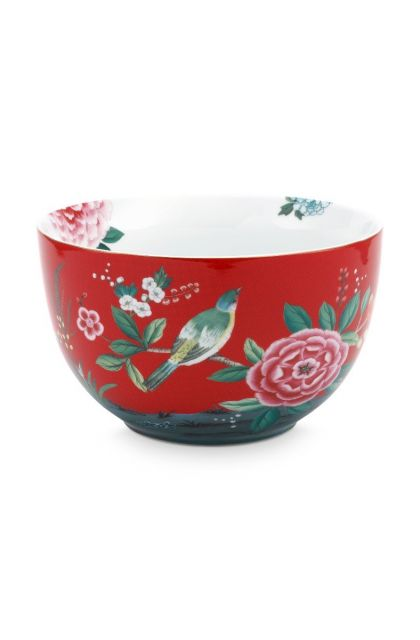 Blushing Birds Bowl Large Red 23 cm