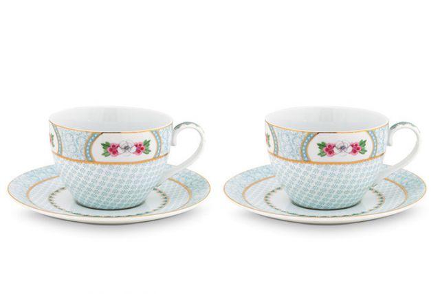 Blushing Birds Set/2 Cappuccino Tassen & Untertassen weiß