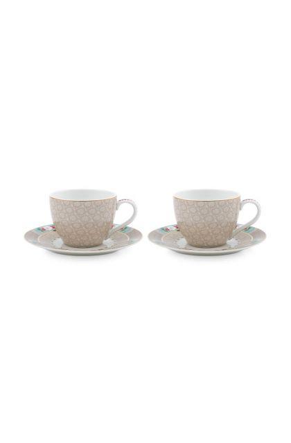 Blushing Birds Set/2 Espresso Tassen & Untertassen Khaki