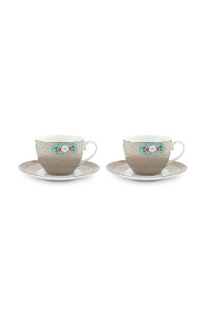 Blushing Birds Set of 2 Cappuccino Cups & Saucers Khaki
