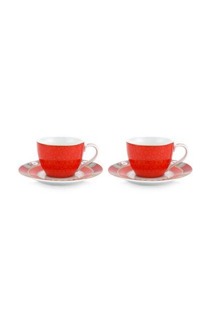Blushing Birds Set/2 Espresso Tassen & Untertassen Rot
