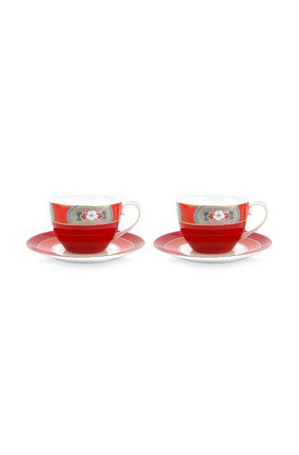 Blushing Birds Set/2 Cappuccino Kop & Schotel Rood