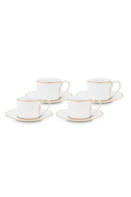 Espresso-set-4-tasse-und-undertasse-klein-125-ml-weiss-goldene-details-love-birds-pip-studio