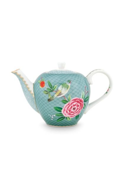 Blushing Birds Teapot small blue
