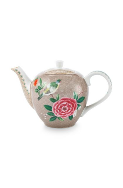 Blushing Birds Teapot Small Khaki