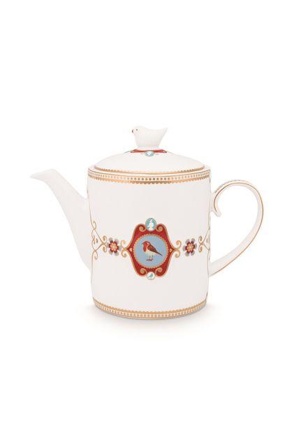 Teapot-1,3-liter-white-gold-details-love-birds-pip-studio
