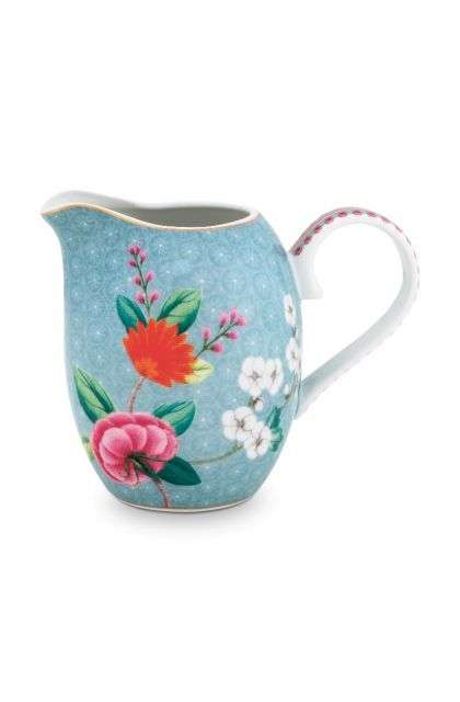 Blushing Birds Milk Jug small blue