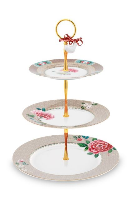 Blushing Birds Cake Stand 3 Levels Khaki