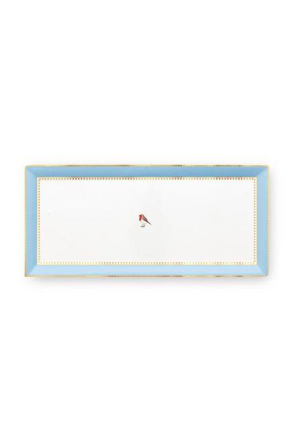 Love Birds Cake Tray Rectangular Blue