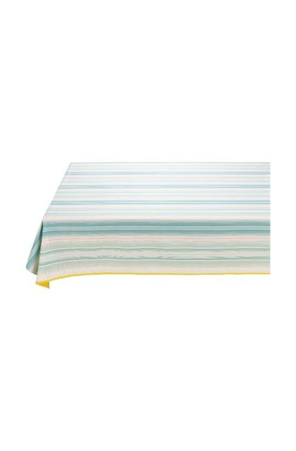 Blushing Birds Table Cloth striped blue and pink