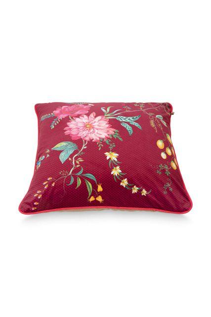 Cushion-floral-red-square-fleur-grandeur-60x60-cm