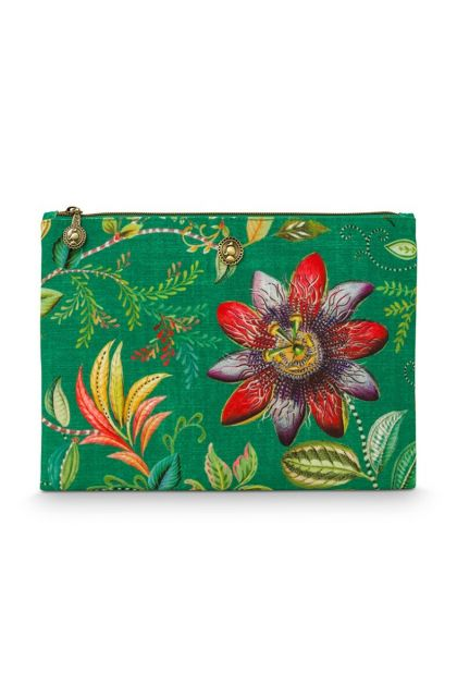 Beach Pouch Flat Medium Exotic Garden