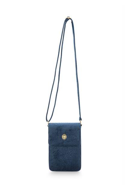Telefoon-tas-donker-blauw- velvet-quilted-pip-studio-11x18x1-cm