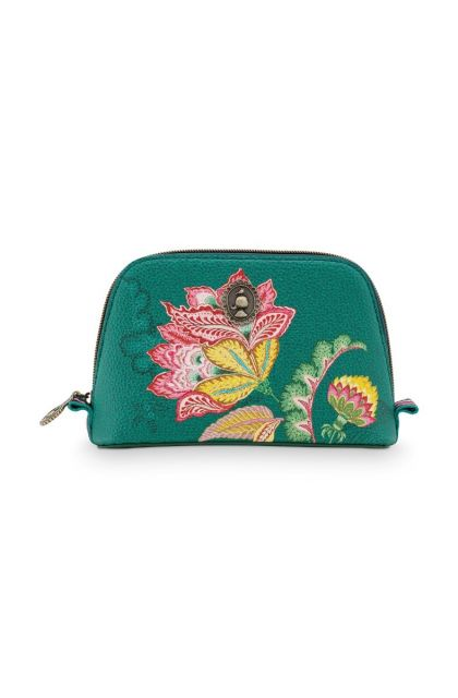 Cosmetic-bag-green-floral-triangle-small-jambo-flower-pip-studio-24/17x16,5x8-PU
