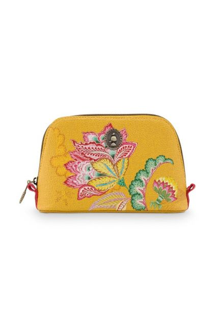 Cosmetic-bag-yellow-small-floral-triangle-jambo-flower-pip-studio-24/17x16,5x8-PU