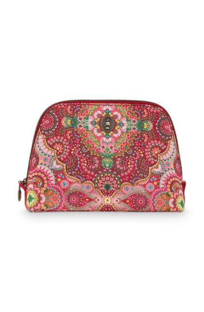 Cosmetic-bag-red-floral-triangle-medium-moon-delight-pip-studio-24/17x16,5x8-PU