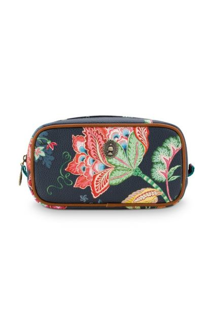 Cosmetic-bag-dark-blue-floral-square-jambo-flower-pip-studio-24/17x16,5x8-PU
