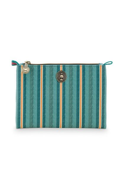 Cosmetic-flat-pouch-small-green-floral-jambo-flower-blurred-lines-pip-studio-19.5x13x1cm-PU