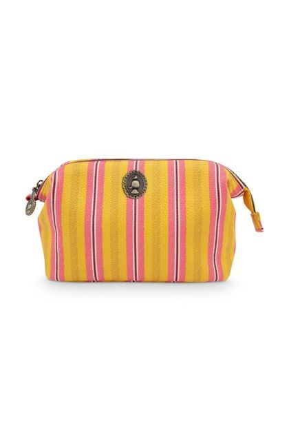 Cosmetic-purse-yellow-pink-small-floral-blurred-lines-pip-studio-22,5x9,5x15