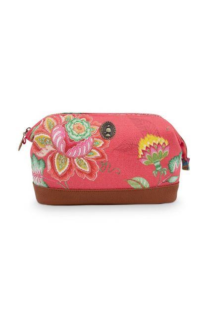 Make-up-tas-medium-rood-bloemen-jambo-flower-pip-studio-22,5x9,5x15