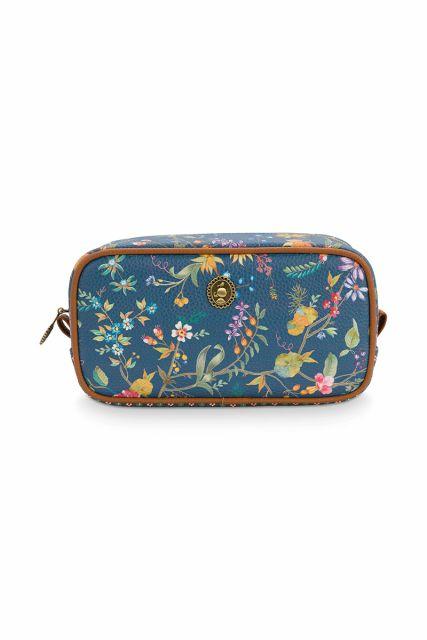 Cosmetic-bag-floral-dark-blue-square-small-petites-fleurs-pip-studio-20x10,5x7,5-cm