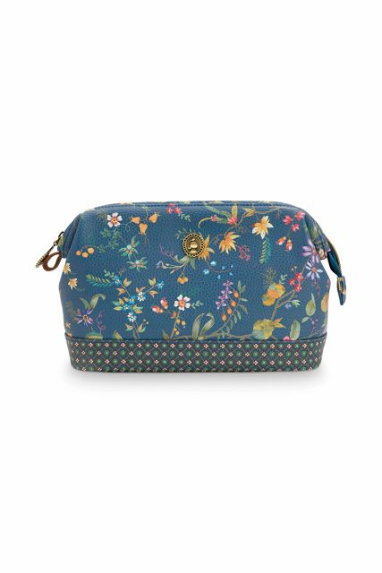 Cosmetic-purse-floral-dark-blue-medium-petites-fleurs-pip-studio-22,5x9,5x15-cm