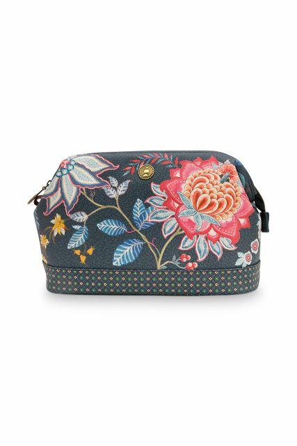 Cosmetic-purse-floral-dark-blue-large-flower-festival-pip-studio-26x18x12-cm