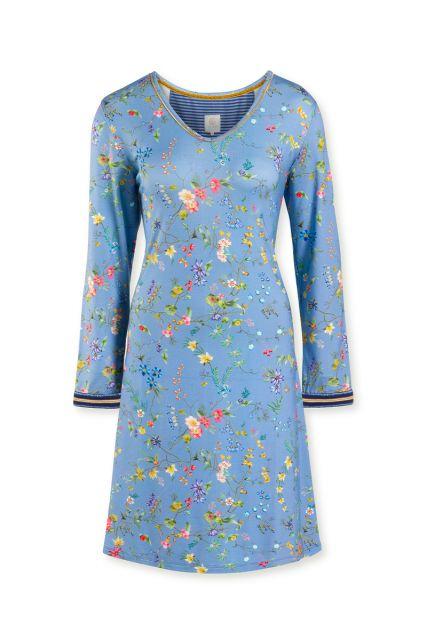 Night-dress-long-sleeve-floral-print-light-blue-petites-fleurs-pip-studio-xs-s-m-l-xl-xxl