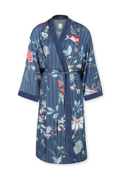 Kimono Flower Festival Big Donkerblauw Plus Size