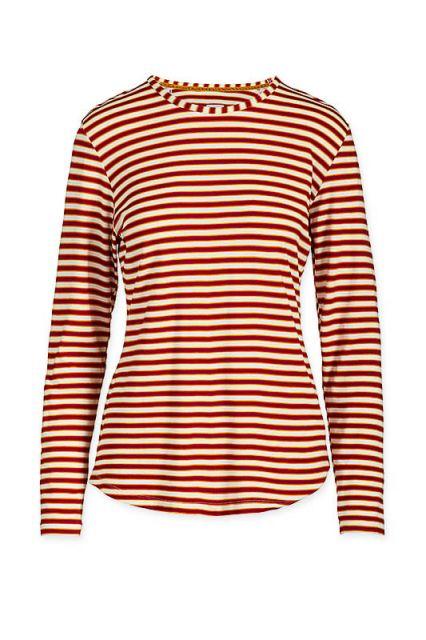 Top Lange Mouw Sleepy Striper Rood