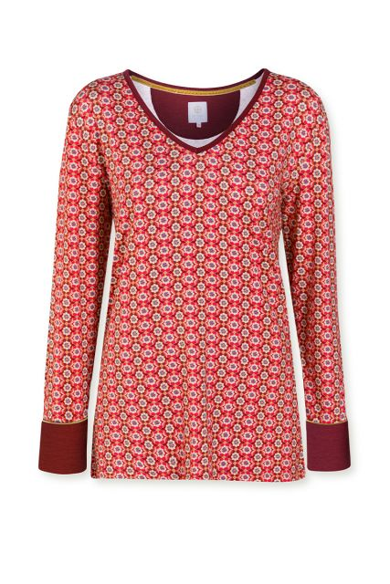 Top-long-sleeve-baroque-print-red-star-flower-pip-studio-xs-s-m-l-xl-xxl