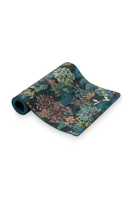 Yoga-mat-botanische-print-donker-blauw-pip-garden-pip-studio-66x183-cm